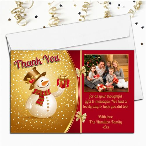 10 Personalised Christmas Xmas Thank you PHOTO Cards N25
